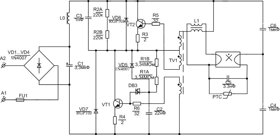 Схемы переделка люминесцентной лампы на светодиодную схема соединения.