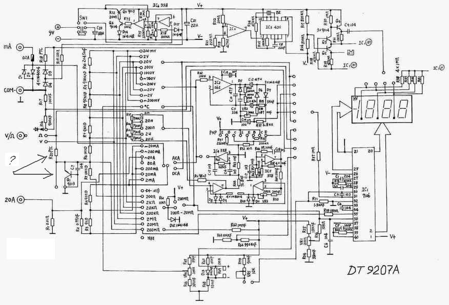 Схема электрическая принципиальная мультиметра Unit DT9207A.
