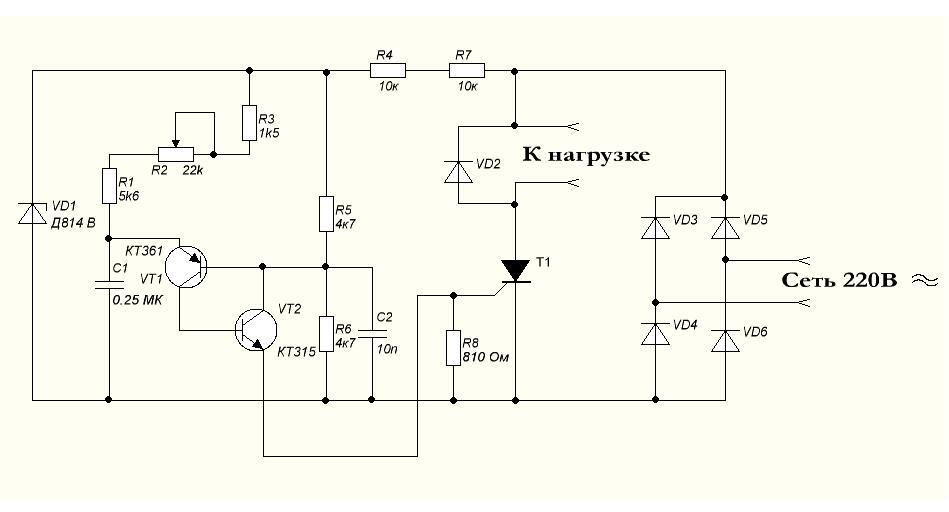схема регулятора дрели - Практическая схемотехника.