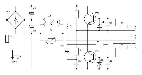 энергосберегающие лампы схема - Принципиальные схемы.