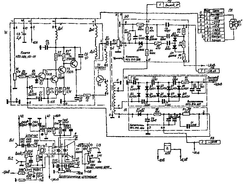 Принципиальная схема осциллографа с1-65а.